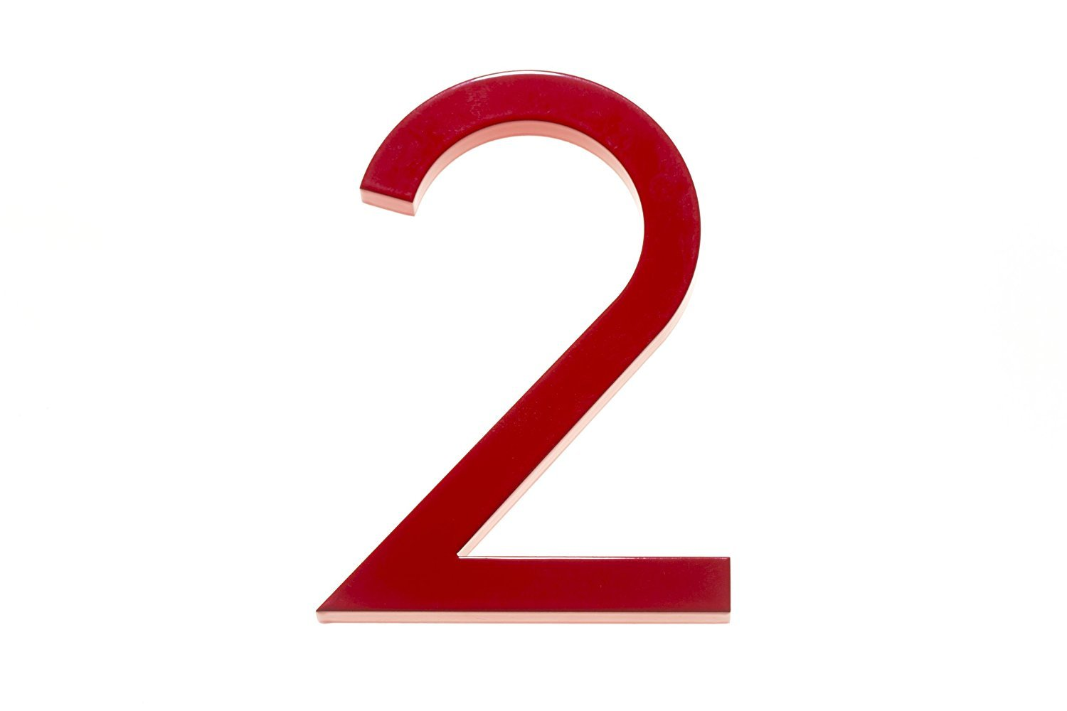 Amazon com modern house number red color aluminum modern font number two 2 6 inch address plaques garden outdoor