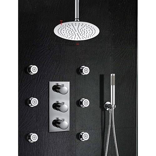 SAEKJJ-Thermostatic Shower Valve 10 Inch Rain Shower Three Handle Brass Spa Body Massage Spray Jets Bathroom faucet new