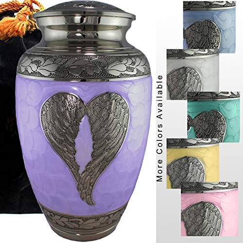 Loving Angel Wings Lilac/Silver Cremation Urns for Human Ashes Adult for Funeral, Burial, Columbarium, Home, Cremation Urns for Human Ashes Adult 200 Cubic Inches, Urns for Ashes Large/Adult