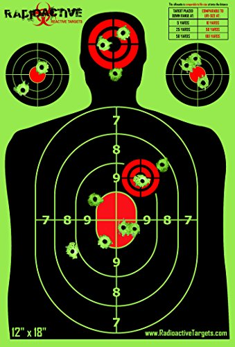 Radioactive Silhouette Reactive Shooting Targets, 12 x 18 Inch (50-Pack)