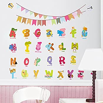 cartoon animals english graphic alphabet letters wall stickers removable wall decal for girls and boys nursery baby room childrens bedroom