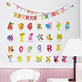 AWAKINK Cartoon Animals English Graphic Alphabet Letters Wall Stickers Removable Wall Decal for Girls and Boys Nursery Baby Room Children's Bedroom