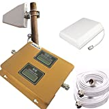 APOHALO High Gain 75dB Mobile Cell Phone Signal Booster/Repeater Amplifier Full Kit GSM/3G 850MHz WCDMA 2100MHz For Home Or Office -With 2 High Gain Antennas