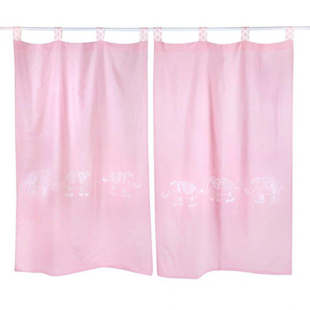 Pink Elephant Patchwork Crib Bedding Accessory - Window Curtain
