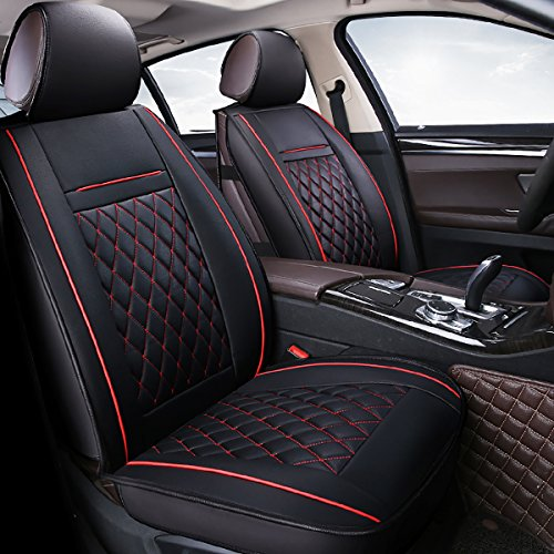 INCH EMPIRE Easy to Clean PU Leather Car Seat Cushions 5 seats Full Set - Anti-Slip Suede Backing Universal Fit Car Seat Covers for Both Fabric and Leather Car -