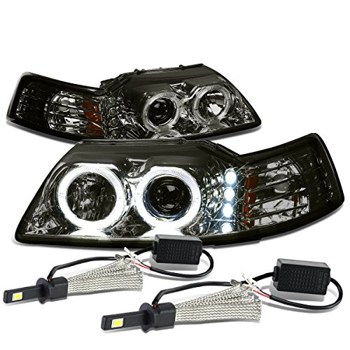 (For Ford Mustang SN-95 Smoked Lens Amber Corner Dual Halo Projector Headlight + H1 LED Conversion Kit)