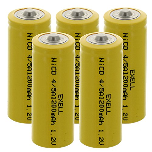 5x Exell 4/5A 1.2V 1200mAh NiCD Button Top Rechargeable Batteries for medical instruments/equipment, electric razors, toothbrushes, radio controlled devices, electric tools -