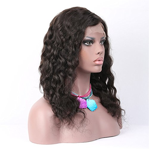 A&R@ Natural Wave Wavy Lace Front Wigs 1B Natural Color Wig With Baby Hair Brazilian Human Hair 16