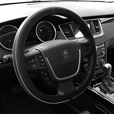 Black Car Steering Wheel Cover Handmade Super Soft Lightweight Steering Cover Universal Fit 38cm//15