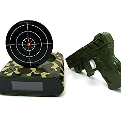 Pawaca Target Alarm Clock with Gun, 12hr Time Display - Infrared Target and Realistic Sound Effects - LED Digital Display Game Toys Gifts For Christmas New Year (camouflage Color)