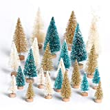 24Pcs Mini Sisal Snow Frost Trees Bottle Brush Trees with Wood Base Winter Snow Ornaments for DIY Crafts Home Table Top Christmas Decor