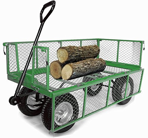 Extra Large 'Deep Sided' Cage, Platform, Heavy Duty, Large Wheels, Outdoor Trolley,(now in green) OT1014 Ollies Trolleys UK