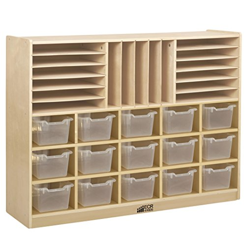 ECR4Kids Birch Multi-Section Storage Cabinet with 15 Scoop Front Bins, Clear