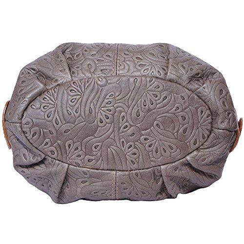 Borsa hobo a spalla in pelle stampato (Grigo scuro-Cuoio)