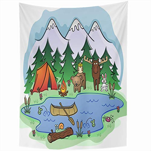 Premium Canoe Paddle Wall Decor - Ahawoso Tapestry 60x90 Inch Clear Blue Hiking Camping Summer Friends Bear Pine Parks Creatures Forest Nature Wild Wilderness Design Wall Hanging Home Decor for Living Room Bedroom Dorm
