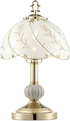 Traditional Accent Table Lamp 15″ High Polished Brass Floral Etched Glass Shade Touch On Off