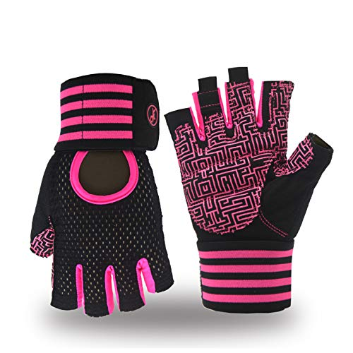 MOREOK Weight Lifting Workout Gloves, Breathable Gym Fitness Gloves Full Anti-Slip Palm Protection & Adjustable Strap Exercise Gloves Men/Women(Pink, L) ()
