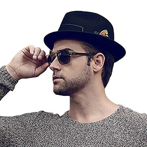 Wide Brim Black Fedora Hats Autumn Vintage Top Jazz Hat Winter Wool Felt Fedora Godfather Trilby Caps Chapeau -