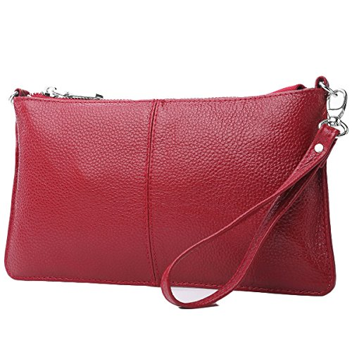 Lecxci Leather Crossbody Purses Clutch Phone Wallets with [Card Slots] for Women (Wine) by Lecxci