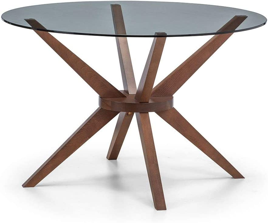Cherry Tree Furniture Round Glass Dining Table With Solid Oak Legs Dining Tables Furniture