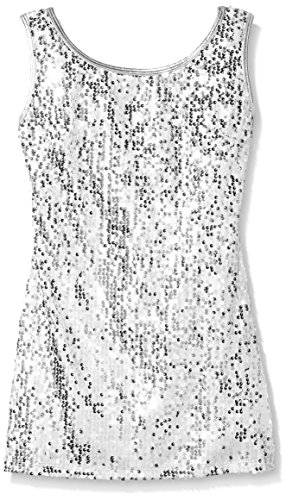 Gia Mia Dance Girls' Big Sequin Tunic Dress, Silver, Large for $<!--$32.95-->