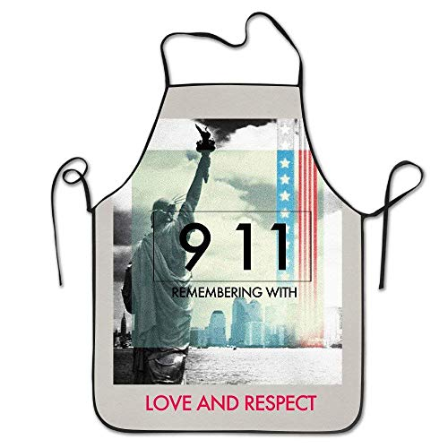 TanJieis Remembering with Love and Respect Those We Lost in Darkness of 911 Cool Women Bib Kitchen Apron Polyester Art Printing Adjustable Comfortable Standard -