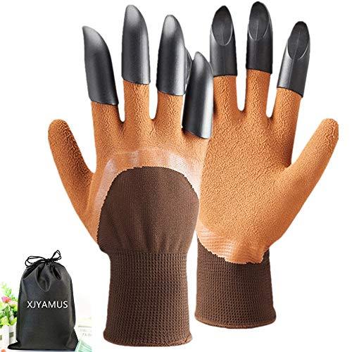 Garden Genie Gloves, [2018 Upgrade] Waterproof Garden Gloves with Claw For Digging Planting, Best Gardening Gloves for Women and Men. (Brown) -