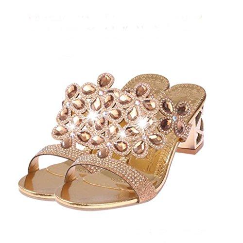 Gold Womens Bohemia Platform Toe Sandals Sandals Open Inkach Summer Fashion Rhinestone Rose Slipper Heeled Shoes 6wPHd