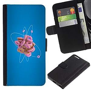 Ihec-Tech / Flip PU Cuero Cover Case para Apple Iphone 6 PLUS 5.5 - Donut Atom Funny