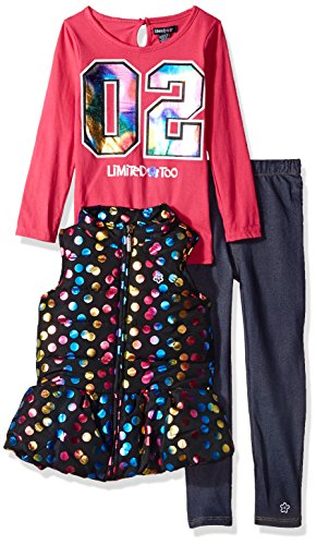 Limited Too Little Girls' Fashion Top, Vest Legging Set (More Styles Available), Multi Print, 6 by Limited Too
