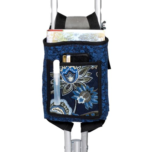 """Ableware 703290000 Blue Print Quilted Cotton Crutch Bag, 8-1/2"""" Length, 8"""" Width, 2"""" height"""