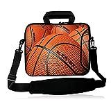 iColor 15' Laptop Shoulder Bag 14.1' 14.2' 15.6' Inch Neoprene Laptop Messenger Bag 15.4' Notebook Computer Dual Zipper Case Cover Pouch Holder Pocket-Basketball