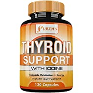 Thyroid Support Supplement with Iodine -120 Capsules - 100% MONEY BACK GUARANTEE - Metabolism, Focus and Energy Formula - NON-GMO - 14 Natural Ingredients - Made in USA