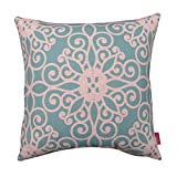 Kingla Home Square Pillowcases 18 x 18 Inch Cotton Linen Decorative Throw Pillow Covers Retro Turquoise Flowers Design Cushion Covers