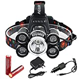 LED Headlamp, Loyalfire 5 Headlamp Bright Light Headlight Flashlight 4 Modes XML-T6 LED with Rechargeable Batteries and Waterproof Switch, for Camping / Travel / Walking / Adventure