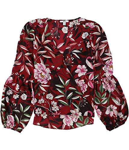 Bar III Floral-Print Faux-Wrap Top Red X-Large from Bar III