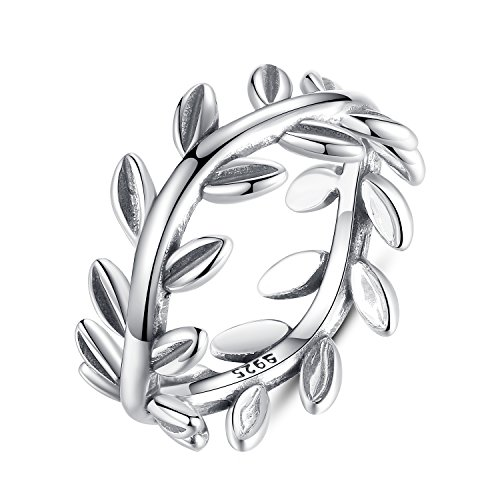 BAMOER 925 Sterling Silver Vintage Olive Branch Vine Women Stackable Promise Rings for Engagement (8) (Love Vine Ring)