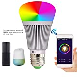 Wifi Smart Led Light Bulb with Alexa RGB Color Changing Mood, Smartphone App Remote Controlled for Home/Decoration/Bar/Party/KTV Mood Ambiance Lighting (E27)