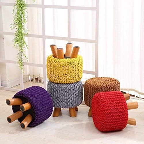 Repose-pieds Repose-pieds Tabouret Chaise Banc de siège avec amovible à la main 100% coton tricoté couverture