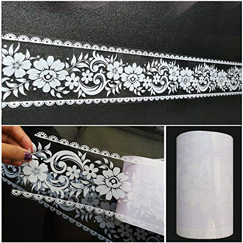 Wallpaper Border Stick and Peel - Transparent Floral Lace Wallpaper Mirror Glass -