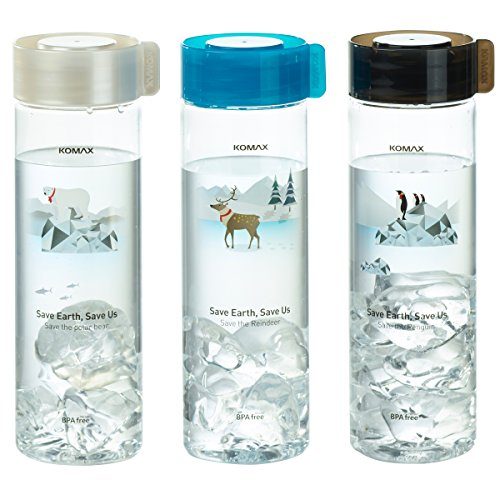 Komax Water and Juice Bottles 18.5oz 3 Pack - Lightweight and Portable, Travel Size - BPA Free, Unbreakable Tritan Plastic - Straw and Mouth Holes - Airtight Screw Cap - Freezer and Dishwasher Safe (Portable Plastic Bottle)