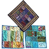 """Set Of 3 Boho Decorative Indian Throw Pillow Cases Blue Embroidered Patchwork Cushion Cover 16 """" x 16 """""""