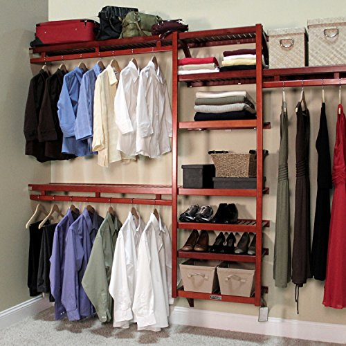 John Louis Home Standard Closet Shelving System, Red Mahogany - bedroomdesign.us