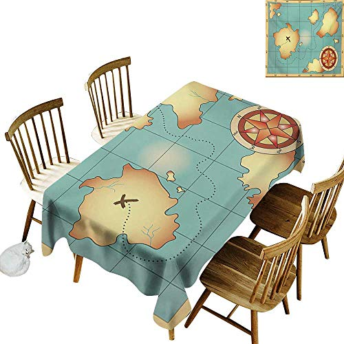 - Floral Tablecloth W50 x L80 Island Map Ancient Treasure World Map Design with Compass Navigation Adventure Hidden Land Cream Blue Great for Party & More