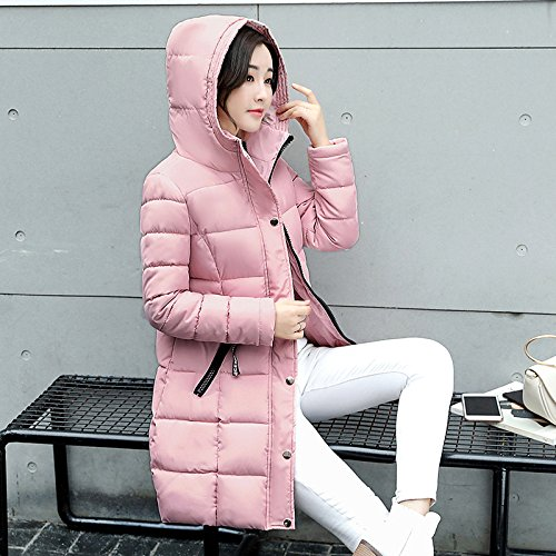 Zipper Medium sleeve Hat Thickened Pocket L Pink Long Coat Down DYF Jacket length wznfqZxI