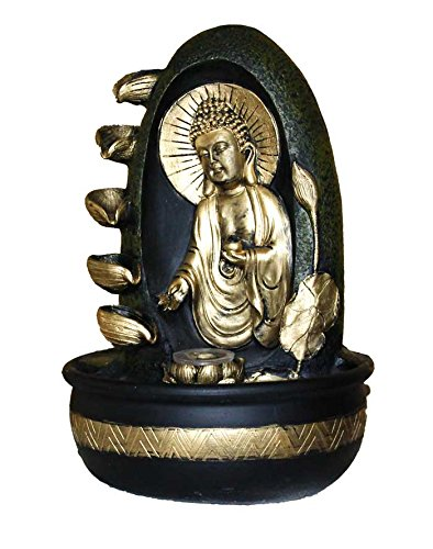 Petrichor Elegant Gautam Buddha with Diyas Indoor Water Fountain for Home Office Decoration and Gifting(Golden and Black, 40 cm)
