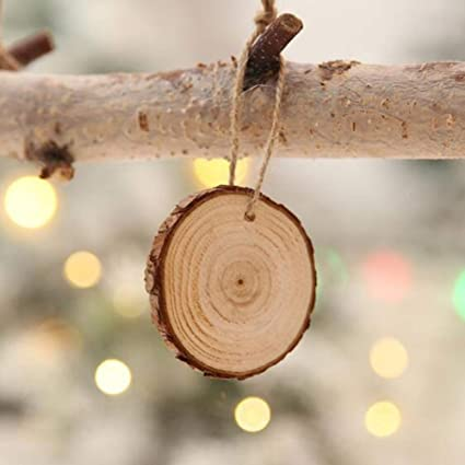 10 PCS Foro Perforato Registro Incompiuto in Legno Appeso Ritaglio Cerchio Artigianato per Artigianato Fai da Te Decorazioni di Nozze Ornamenti per Alberi di Natale MOTOULAX Fette di Legno Naturale