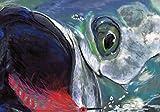 Tarpon Fish Art Print, Saltwater Fly Fishing Painting, Hand Signed Fishing Gift By Jack Tarpon, Colorful Tarpon on Fly Wall Art Fishing Gift.