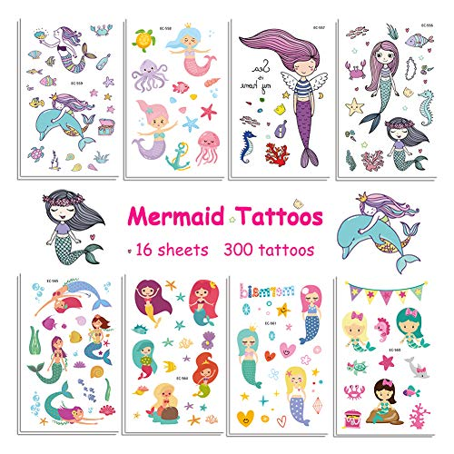 Vindyeer Mermaid Temporary Tattoos for Kids Birthday Party, 300 Tattoos (Pack of 16 Sheets) Waterproof Mermaid Scale Temporary Tattoos, Under the Sea/Mermaid Party Supplies Great Children Party -