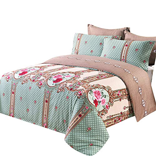 (EAVD Reversible Print Patterns Duvet Cover with Two Matching Shams 3 PCS Bedding Set Full/Queen(90